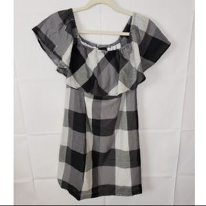 Who What Wear Womens Checkered Off Shoulder Dress